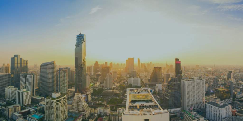 City skyline and buildings with sunrise
